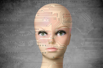 Female cyborg head with human eyes