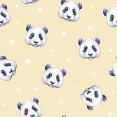 Pandas on beige background. Seamless pattern. Watercolor drawing. Children's illustration. Handwork