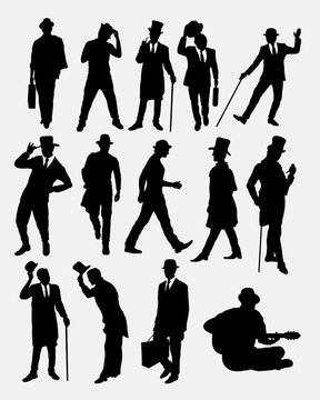 Man with hat pose silhouettes. Good use for symbol, logo, web icon, mascot, sticker, or any design you want. Easy to use.