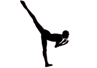 Silhouette of a flexible male dancer posing and balancing on white background