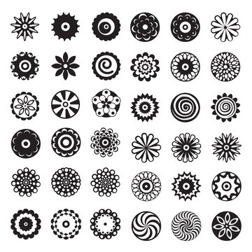 Black and white vector flowers set with sixty nine different logo and icon designs of spring and summer flowers