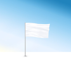 Blank white flag mock up stand at blue sky background.