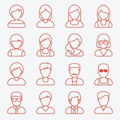 People userpics line icons