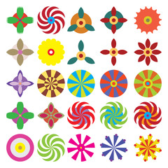 Flower icon, set of vector flowers