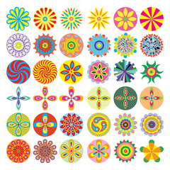 Ornament beautiful set of flowers like chakras for yoga. Geometric elements, hand drawn. Elements for spiritual compositions and patterns, small mandalas, kaleidoscope, medallion.