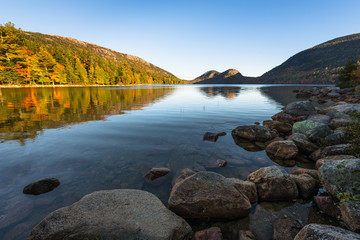 Wall Mural - Mountain Lake in Early Autumn Sunlight