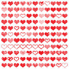 Large set of hand drawn vector heart. Collection created with different brush such as chalk, ink, pencil, watercolour brush and scratch.