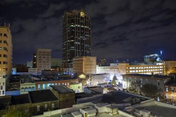 Low aerial view of Raleigh, North Carolina at night