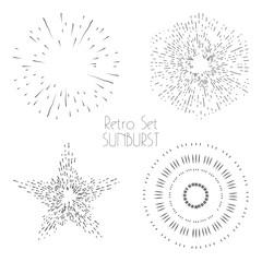 Set of vintage hand drawn sunbursts. Collection of retro sun burst shapes. Vintage logo, labels, badges. Sun ray frames, stars.