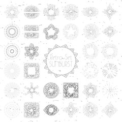 Set of vintage hand drawn sunbursts in different shapes. Collection of vintage logo, labels, badges. Sun ray frames, stars with space for text.