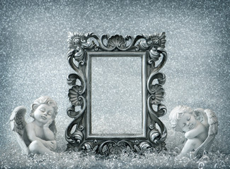 Picture frame with sleeping angel. Vintage style decoration
