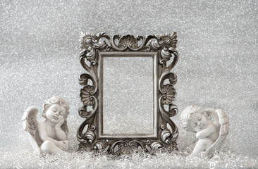 Picture frame with guardian angel. Christmas decoration
