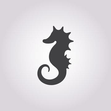 seahorse icon on white background