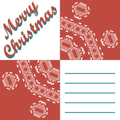 Christmas greeting card and patterns vector background. Merry Christmas holidays wish design and vintage ornament decoration. Happy new year message. Vector illustration.