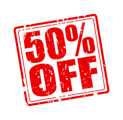 50% OFF red stamp text