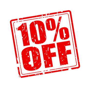 10% OFF red stamp text