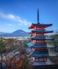 Fototapete - Mt. Fuji with Chureito Pagoda, Fujiyoshida, Japan
