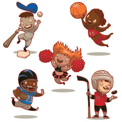 Vector cartoon image of five funny children - sportsmans: baseball player, basketball player, cheerleader, american football player and ice hockey player on a white background.