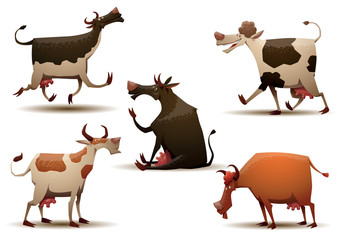 Vector Funny cows set. Cartoon image of five funny cows of different colors and various poses on a light background.