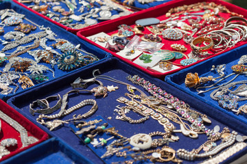 Old jewellery for sale at flea market