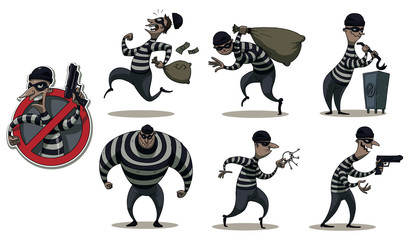 Vector cartoon image of a colored set of differents retro robbers in black masks, striped dress and with different attributes of theft in the hands on a white background.