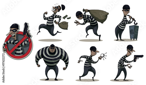 Vector Cartoon Image Of A Colored Set Differents Retro Robbers In Black Masks Striped