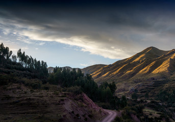 Scenic view of Andes mountain range against cloudy sky, Cusco, Peru