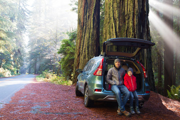 family in redwood forest