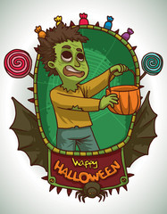 Vector card with green oval frame with a red banner with black bat wings, black spider and different colored candies with cartoon image of a funny boy in Zombie costume on a light background.