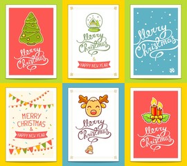 Vector collection of christmas templates with hand written text