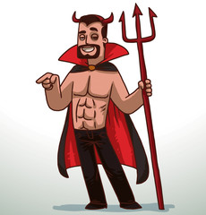 Vector cartoon image of a handsome man with black hair in black pants, red-and-black cloak and red horns on his head with a red trident in his hand on a light background.