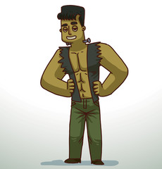 Vector cartoon image of a handsome man with green skin, black hair with gray screws in the neck in green trousers and a dark gray tattered vest on a light background.