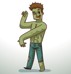 Vector cartoon image of a handsome man with brown hair with green skin in blue ripped jeans on a light background.