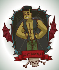 Vector card with a black rectangular frame with iron spikes, web, bat wings, red banner, white skull, crossbones, with cartoon image of a man in Frankenstein's monster costume on a light background.