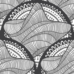 Vector Ethnic retro floral doodle seamless black and white pattern with a star in the center on a white background.
