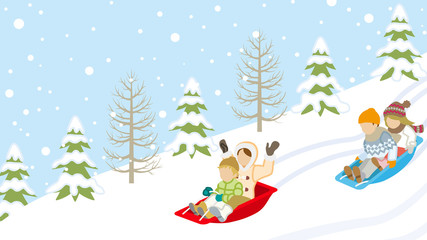 Sledding Children in winter slope