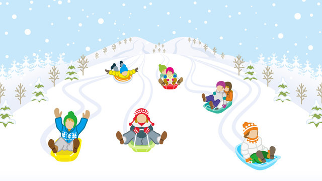 Sledding kids in snowy mountain