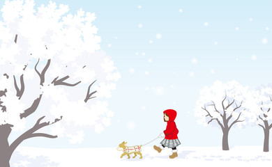 Winter stroll, Red coat girl with puppy