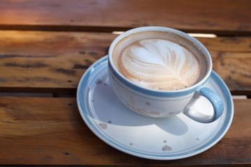 Close-up latte art coffee