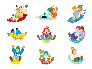 Sledding kids set Isolated
