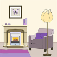 Home interior with fireplace, an armchair and a floor lamp. Vector illustration.