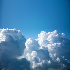 Amazing Aerial view of Clouds close-up, background with copy