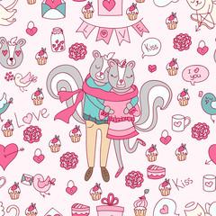 Valentine's Day doodles. Romantic hand drawn elements.Vector. Romantic pattern.Cute skunks.