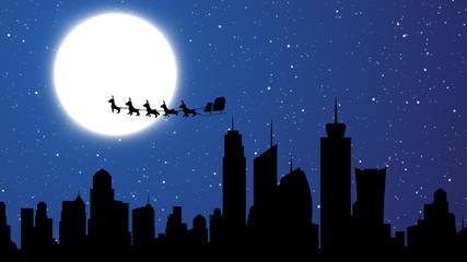 Flying Santa over skyscraper buildings