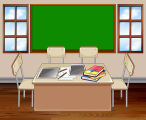 Classroom with table and chair