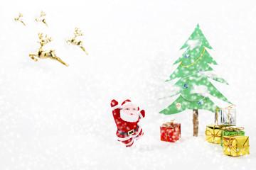 Christmas tree and gift of santa.Used brush tool for white dot.