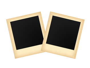 Two old photo papers card isolated on white