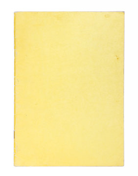 Blank yellow comic book cover isolated on white background