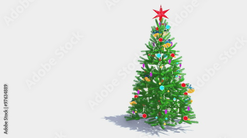 Decorated Christmas Tree With Red Star On Its Top Drops From