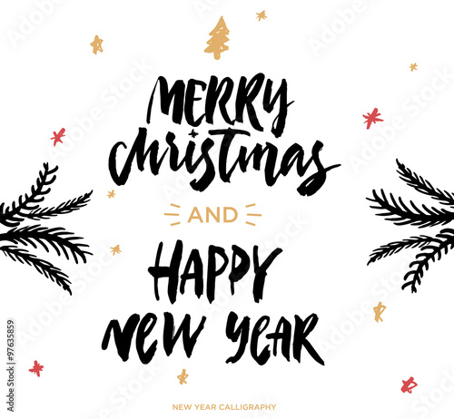 Quot merry christmas and happy new year handwritten modern